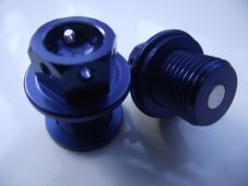 "Magnetic CNC blue sump plug Oil Drain Bolt ""Lockwire drilled"" M14X 1.5 Yamaha"